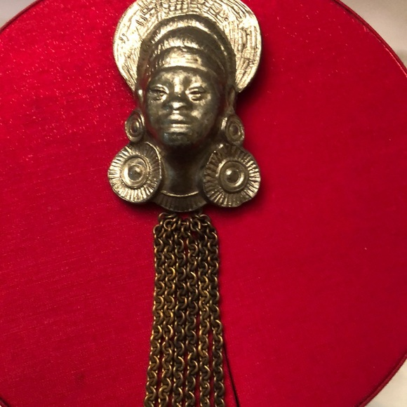 Vintage tribal face pendant with chain tassels